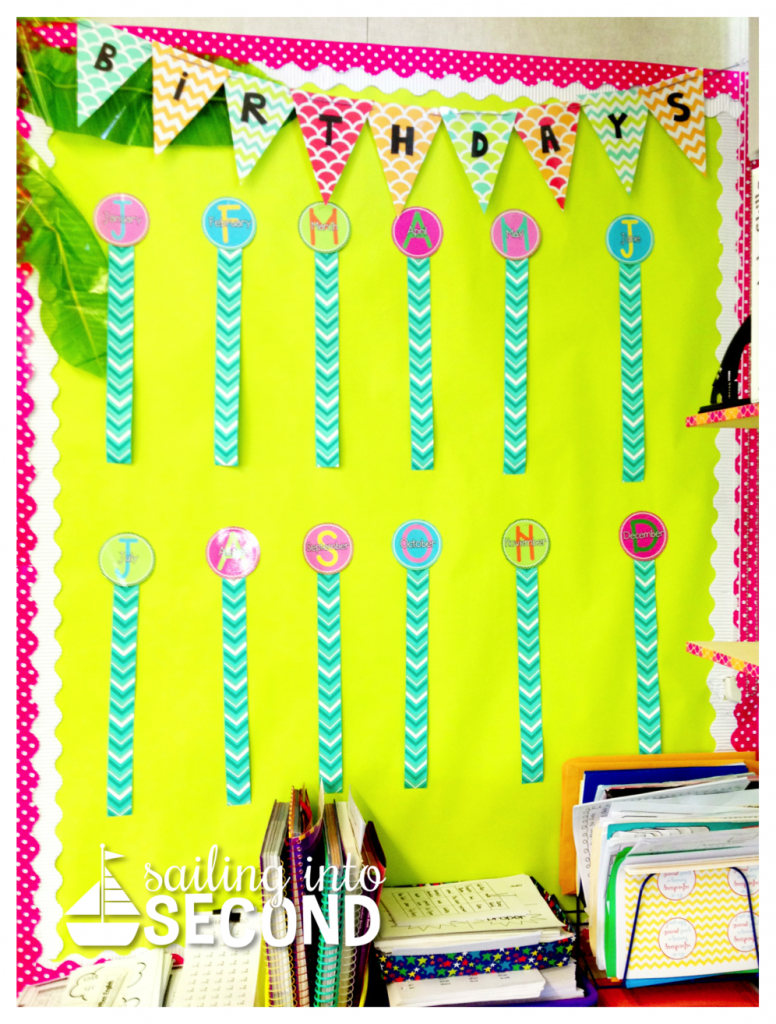 Sailing into Second-classroom birthday boards